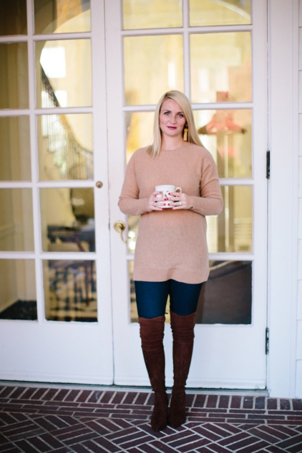 Blogger Kate Brennan sips her morning coffee in a comfy cashmere tunic from Nordstrom, OTK boots, Nordstrom sweater, tassel earrings, anthropologie, denim