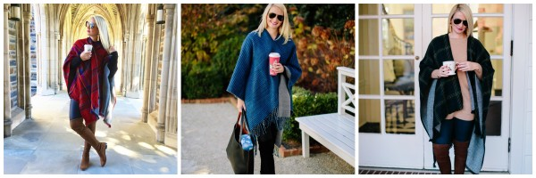 Blogger Kate Brennan dons reversible capes in three different styles, patterned ponchos, morning coffee, leggings, OTK boots, North Carolina style